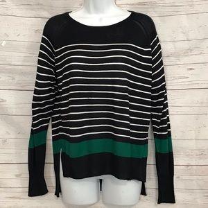ZARA KNIT Hi-Lo Top Stripped Shirt sweater Size M